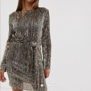 ASOS Club London gold sequin dress.